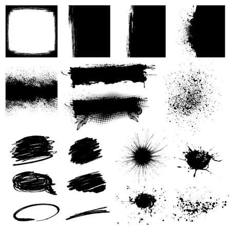 Set Black Grunge Design Element