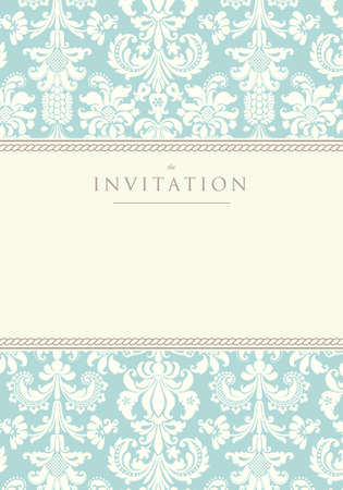 Ornate damask background  Invitation to the wedding or announcements Illustration
