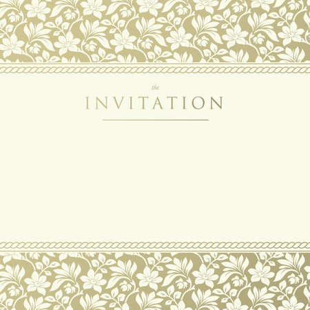 Ornate damask background  Invitation to the wedding or announcements Vector