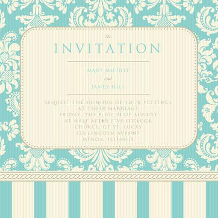tarjeta de invitacion: Fondo del damasco Invitación adornada de la boda o los anuncios Vectores