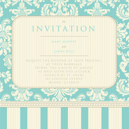 Ornate damask background  Invitation to the wedding or announcements Çizim