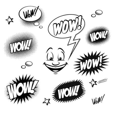 wow: Conjunto de wow cómic para su diseño Vectores