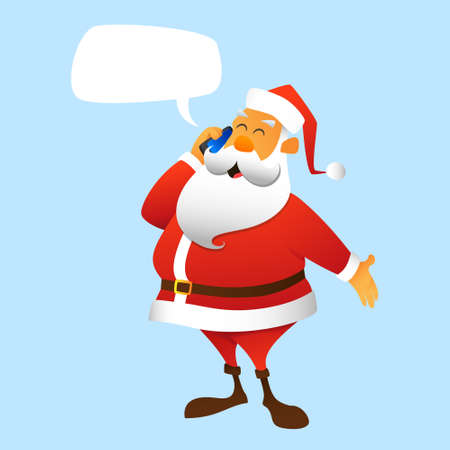 Santa Claus calling by mobile phone Vector