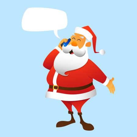weihnachtsmann lustig: Santa Claus ruft per Handy Illustration