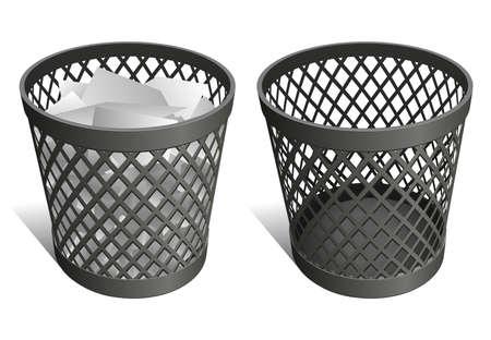 afvalbak: Draad vuilnisbak afval bin prullenbak Stock Illustratie