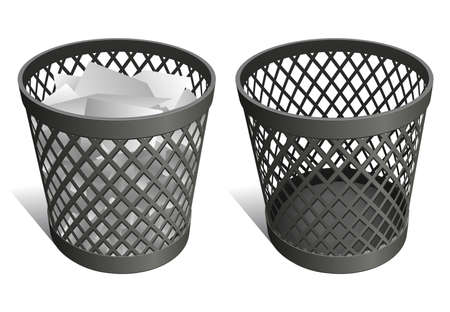 empty basket: Wire trash can   waste bin   recycle bin Illustration