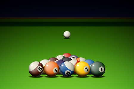 billiards hall: billiard balls on the table Illustration