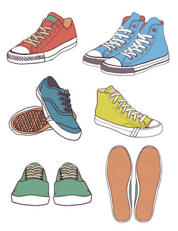 boot print: Set of sneakers Illustration Illustration