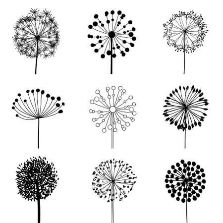 Bloemen elementen paardebloemen illustratie Stock Illustratie