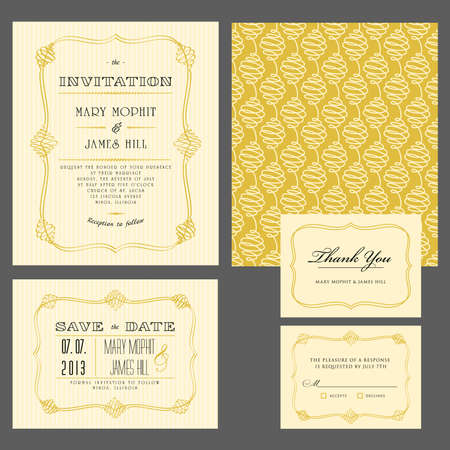 wedding decor: Set of classic wedding invitations and announcements