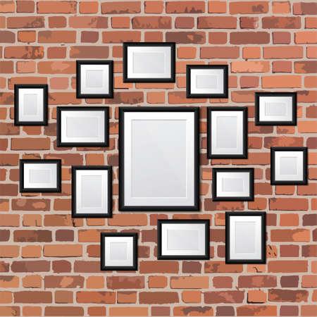 brickwork: Set realistic frames on wall illustration