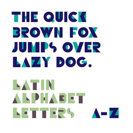 retro font: Forme geometriche alfabeto lettere. Carattere Retro. Lettere dell'alfabeto latino Vettoriali