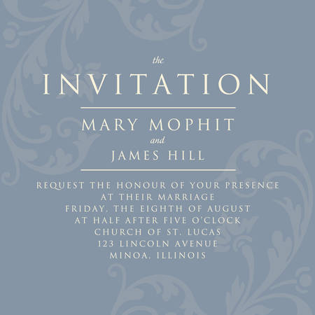 Invitation with a rich background in Renaissance style. Template framework Wedding invitations or announcements with vintage background artwork. Ornate damask background Illustration