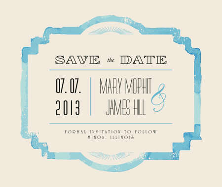 Save the date with watercolor frame. Retro stile hand drawn ornament. Vector illustration Çizim