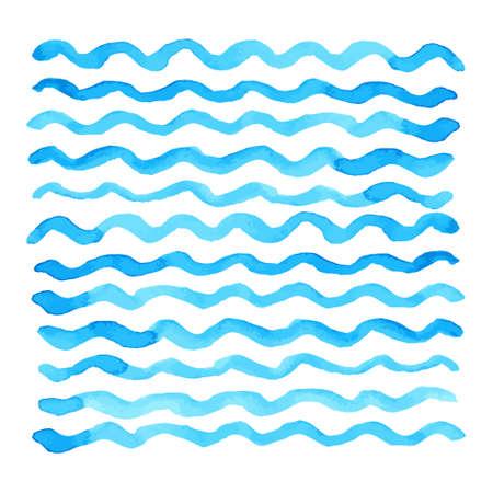 추상 수채화 블루 웨이브 패턴, 물 텍스처 스케치 배경. 손으로 그리기. 벡터 일러스트 레이 션 일러스트