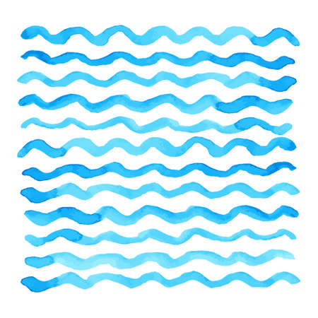 wave pattern: Abstract watercolor blue wave pattern, water texture sketch background. Drawing by hand. Vector illustration