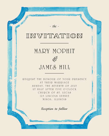 vintage invitation: Wedding invitation with watercolor frame. Retro stile hand drawn ornament. Vector illustration