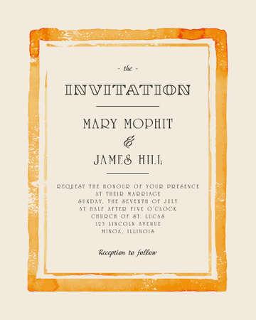 Wedding invitation with watercolor frame. Retro stile hand drawn ornament. Vector illustration