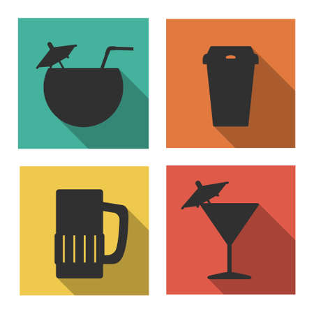 Flat icons for drinks.  Isolated on white background Vector