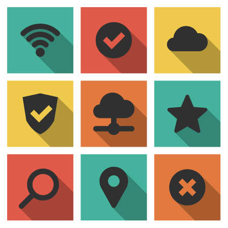search optimization: Flat design modern vector illustration icons set of internet and technology in stylish colors. Isolated on white background