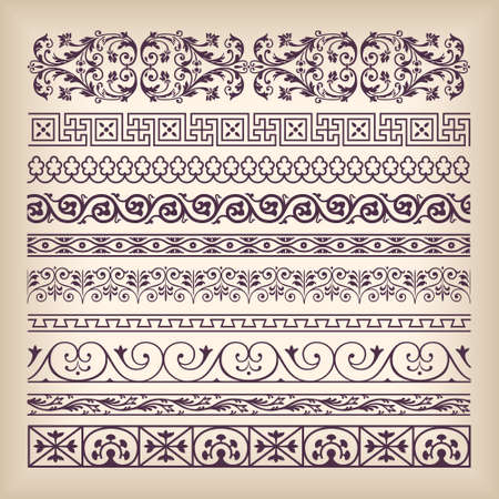 Vector set vintage ornate border frame with retro ornament pattern in antique baroque style. Arabic decorative calligraphy design high quality 矢量图像