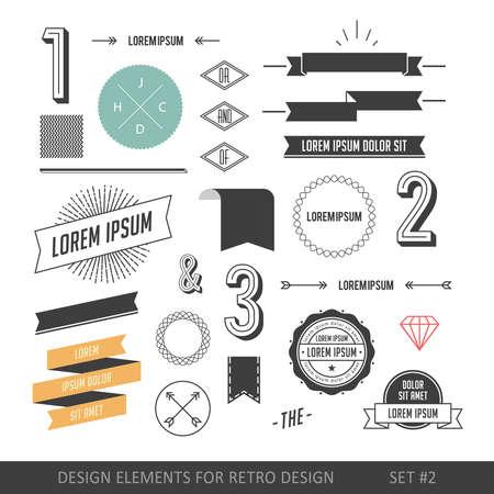 レトロなデザインのローライズ スタイル インフォ グラフィック要素を設定します。リボン、ラベル、線、数字、矢印、ボーダー、ダイヤモンドお