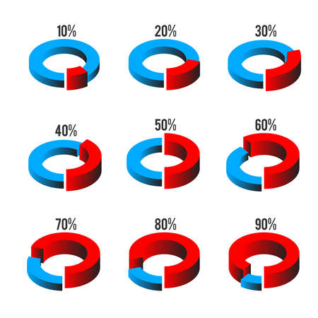 cross process: Set of circle diagrams for infographics