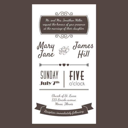 anniversario matrimonio: Invitation card Vintage con sfondo a zig-zag, lettere, tipo, nastri e cuore. Vettoriali