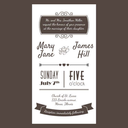 wedding card design: Vintage Invitation card with background zigzag, letters, type, ribbons and heart.