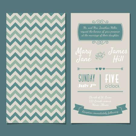 tarjeta de invitacion: Tarjeta de la invitaci�n de la vendimia con el fondo del zigzag, cartas, tipo, cintas y coraz�n. Vectores