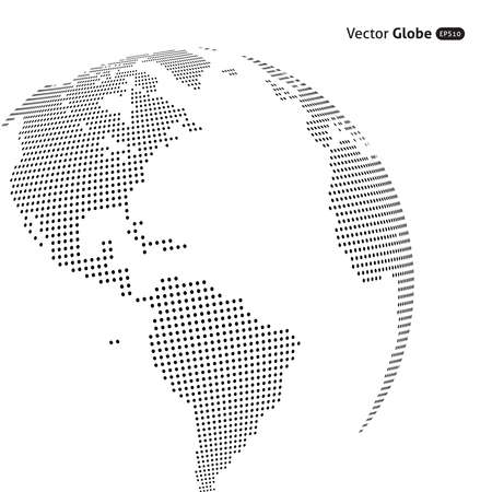 earth globe: Vector abstract dotted globe, Central heating views over North and South America