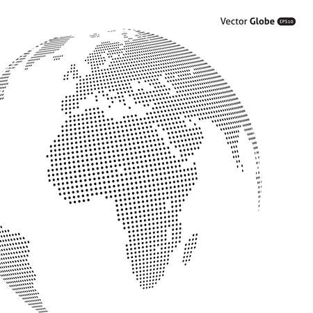 global communications: Vector abstract dotted globe, Central views of Africa