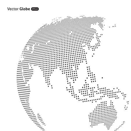 Vector abstract dotted globe, Central heating views over East Asia Çizim