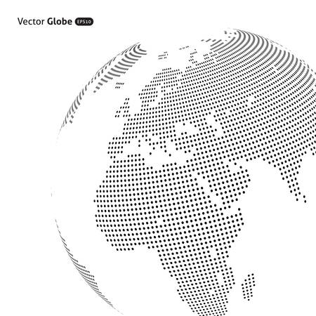 asia pacific map: Vector abstract dotted globe, Central heating view on Europe and Africa