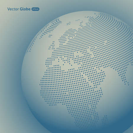 EUROPE MAP: Vector abstract dotted globe, Central heating view on Europe and Africa
