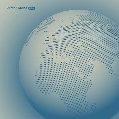 mapa de europa: Vector mundo abstracto de puntos, vista Calefacción central en Europa y África Vectores