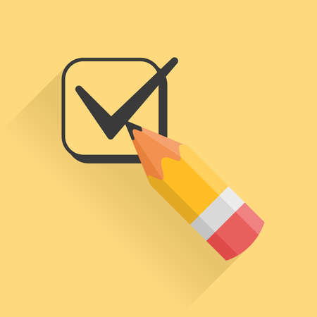 checkbox: Icon representing pencil and checkbox filled with tick mark