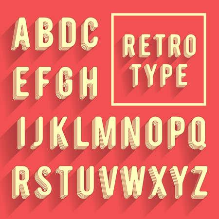 retro font: Retro alfabeto poster. Carattere Retro con ombra. Lettere dell'alfabeto latino