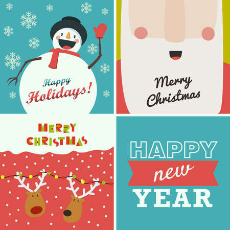 santa claus background: Set of four Christmas and New Year greeting cards. Santa Claus, funny snowman, deer on winter background and the words Happy New Year