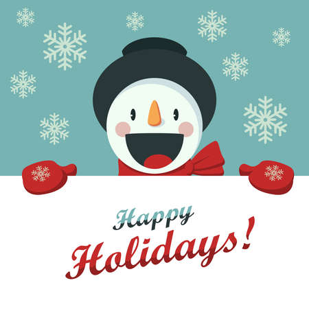 snowman hat: Happy Snowman greets you. Christmas background with snowflakes. Card for the New Year or Christmas