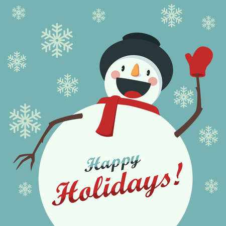 snow scenes: Happy Snowman greets you. Christmas background with snowflakes. Card for the New Year or Christmas