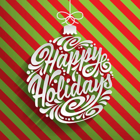 eps10: Holidays greeting card with abstract doodle Christmas ball. Vector eps10 illustration. Happy Holidays