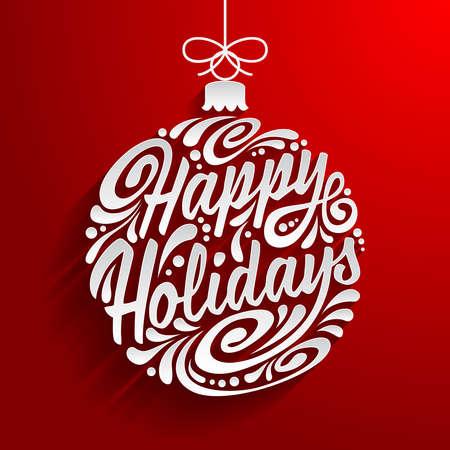 Vacaciones tarjeta de felicitación con garabato abstracto bola de Navidad. Ilustración eps10 de vectores. Felices Fiestas Ilustración de vector