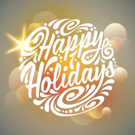 Happy Holidays typografie, rukopis. Light pozadí