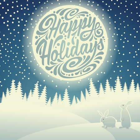Christmas background with snowflakes, moon, hares and typographic doodle. Happy Holidays Vectores