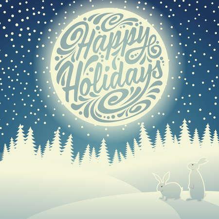 Jul bakgrund med snöflingor, måne, harar och typografiska klotter. Glad helg