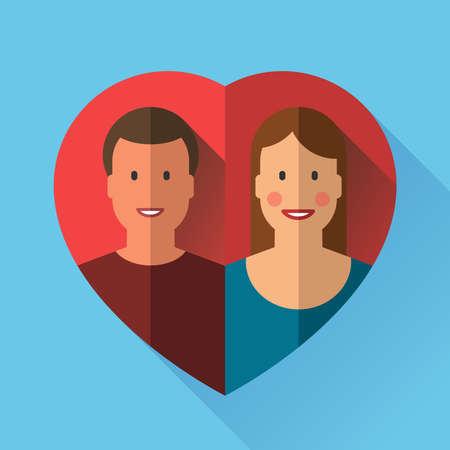 enamorados caricatura: Pares del amor en el coraz�n.