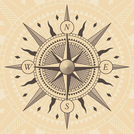 old west: old style wind rose compass