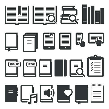 magazine stack: Book icons, e-book, reading on different devices.  Illustration