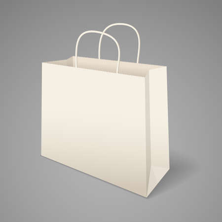 handles: Paper shopping bag with handles.  Illustration